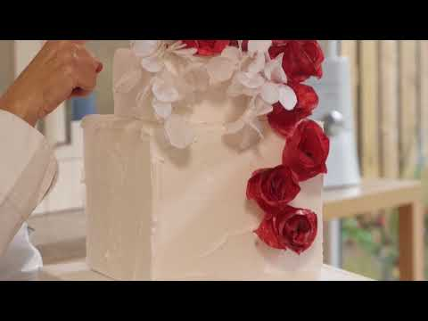 Learn how to make an incredible red wafer paper wedding cake