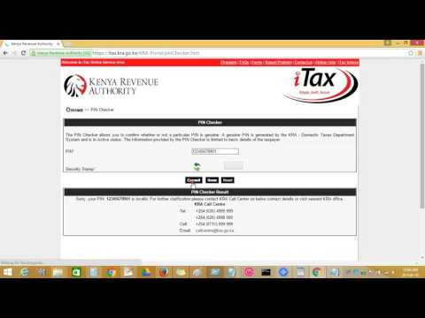 How to verify Kenya revenue authority personal identification number   pin online
