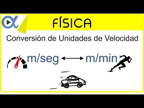 CONVERSIÓN DE UNIDADES DE VELOCIDAD: m/seg a m/min y m/min a m/seg