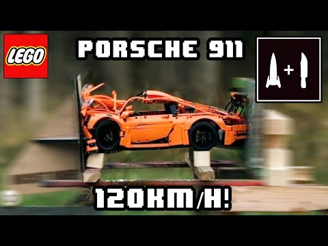 LEGO PORSCHE -VS-  120KM/H ROCKET SLED (Recreating the Mythbusters vanishing car episode)