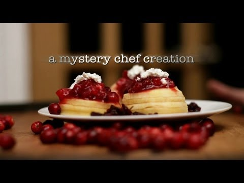 Apple with Cranberry Sauce and Goat Cheese Dessert