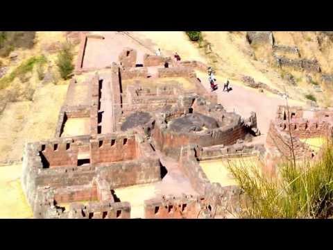View of Pisac Incan Ruins in Peru not far from Cusco