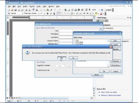 MS Word 2003 Mail Merge Pt 1