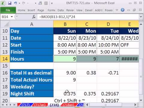 Excel Magic Trick 718: Calculate Hours Worked (Day or Night Shift) & Subtract Lunch