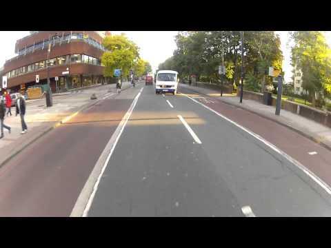 Lambeth bus turns into my path - Morning commute 4 Oct 2012