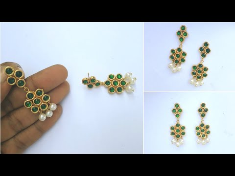 How To Make Designer Paper Earrings At Home | DIY | fancy Pearl Earrings | Jewelry | Uppunuti Home