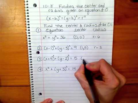 Finding the center & radius when given an equation .mov