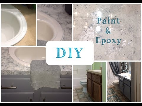 DIY Painted Faux Granite | Giani White Diamond | Formica Countertops | Bathroom Makeover | Faux Posh