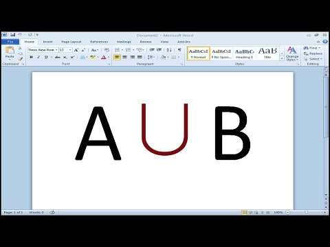 How to insert Union symbol in Word