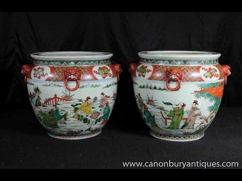 Pair Chinese Qianlong Pottery Planters Porcelain