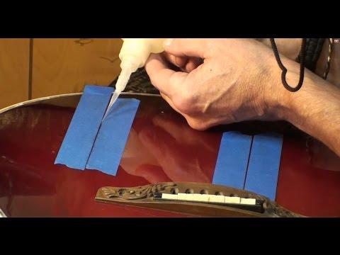 Acoustic guitar top crack repair cleating cracks n sealing outter cracks