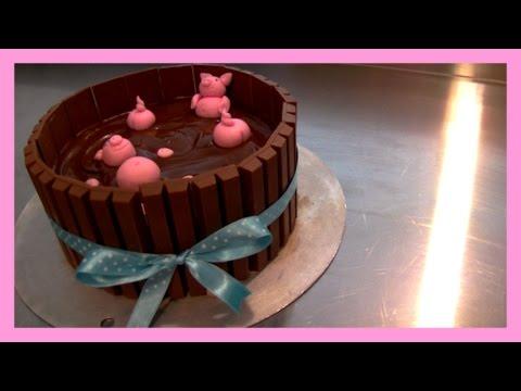KitKat Schweine Torte mit Kinderschokolade - KitKat Pigs in mud Cake Tutorial - von Kuchenfee