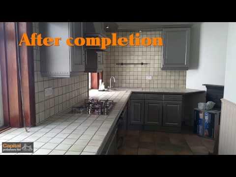 Metallic paint kitchen doors  and cupboards: Pantone 9007 50% satin spray finish, Sparkle paint