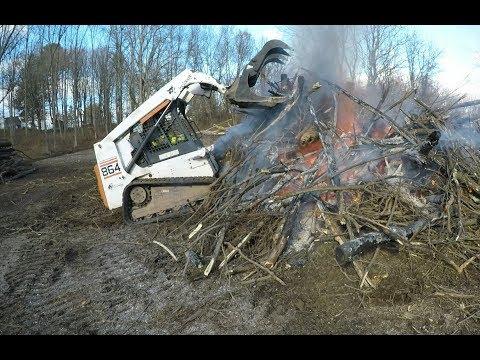 Burning a brush pile