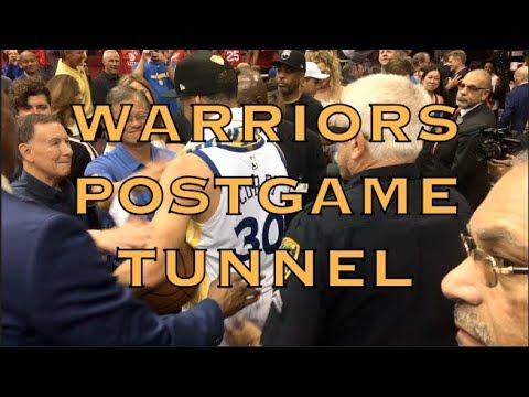 Postgame tunnel: Lacob, Tony Robbins, Draymond, KD