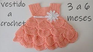 6804d0148c56 Como tejer un vestido para bebe a ganchillo -olanes -crochet -3 a 6