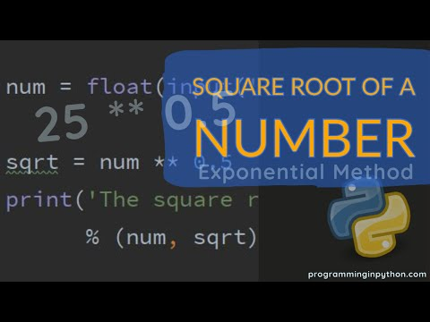 Square root of a number using exponential operation in python || programminginpython.com