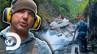 Miner Nearly Dies Winching Dredger Up Swollen River   Gold Rush: White Water