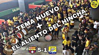 Jugadores Barcelona Sporting Club cantando junto a la Sur