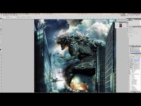 How to make MOVIE POSTER Godzilla 2014 (Photoshop CS6 SpeedArt)