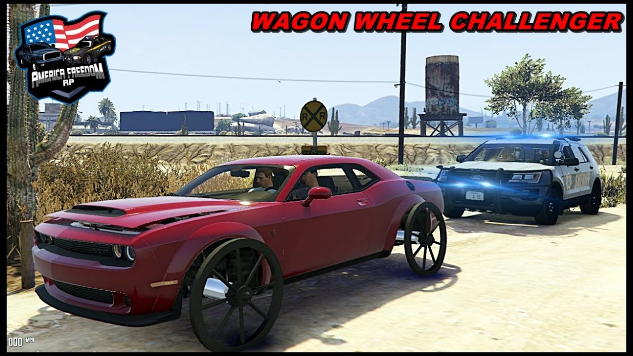 WHISTLINDIESEL CHALLENGER WITH WAGON WHEELS CONFUSES COPS! - GTA 5 ROLEPLAY - America Freedom RP