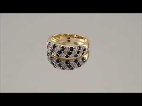 048841 - 9ct Gold Diamond And Sapphire Half Eternity Ring