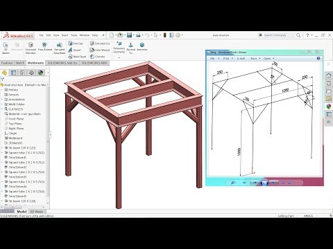 Solidworks Weldments tutorial steel structure with welding Part 1