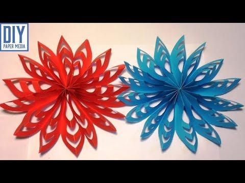 How to make 3D snowflake paper decoration | DIY origami paper design tutorials