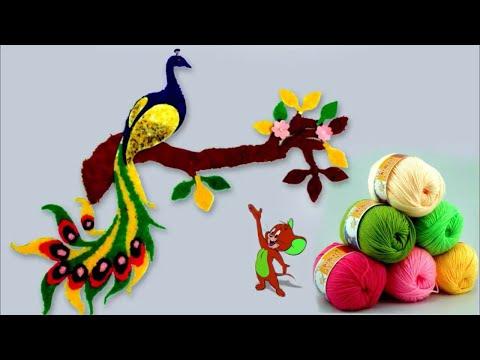 Wall Art Peacock Using Woolen || Handmade Room Decoration Idea || DIY Crafts Idea