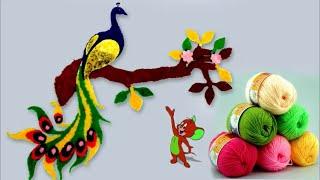 Wall Art Peacock Using Woolen    Handmade Room Decoration Idea    DIY Crafts Idea