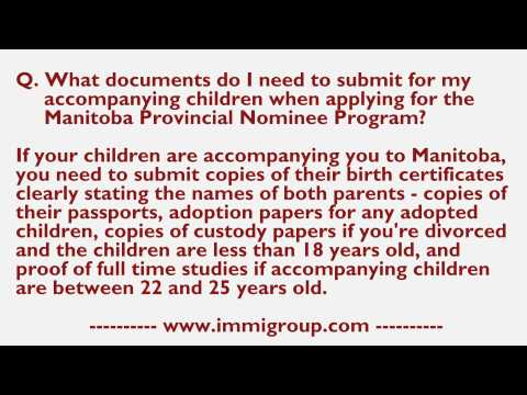 What documents do I need to submit for my accompanying children when applying for the MPNP?