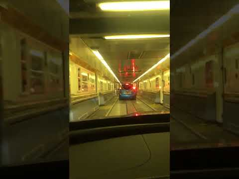 Getting on the Eurotunnel train from Calais France to Folkeston England