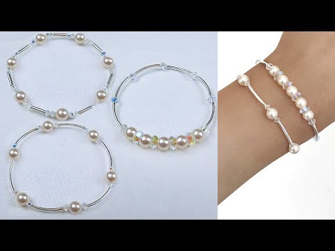 3 Easy Beading Pearl and Crystal Bangle Style Bracelets