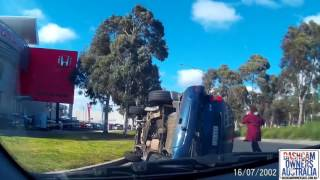 Car runs red light and flips Jeep - Bundoora VIC