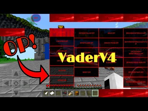 Most Overpowered Hack Client in MCPE 1.2 Vader V4 (Tracers,Lbsg Flight, Aimbot, Forcefield)