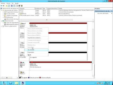 15 Windows Server 2012 RAID Disco Reflejado (RAID1) Crear Eliminar Volumen