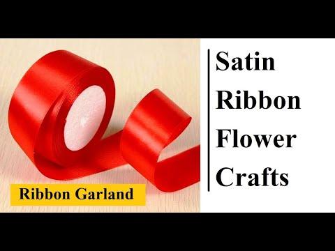 Ribbon Flower Garland ll Ribbon Mala ll Satin Ribbon Flower Garland Step By Step In 5 Min