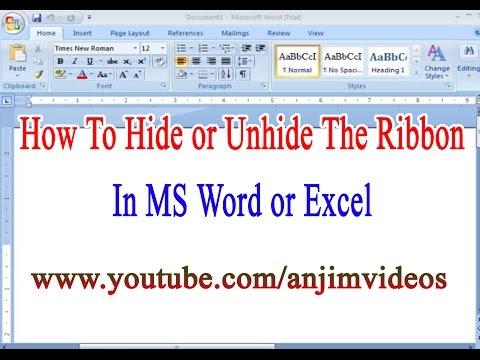 How To Hide or Unhide The Ribbon in Ms Word or Excel Telugu | MS Word 2007 Tutorial In Telugu