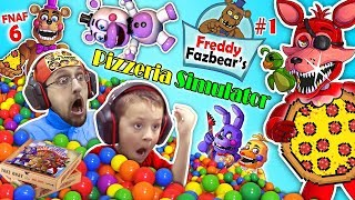 FNAF 6 Pizzeria Simulator! Ball Pit Balls, Pizza & Jump Scares = BEST DAY EVER w/ FGTEEV Chase