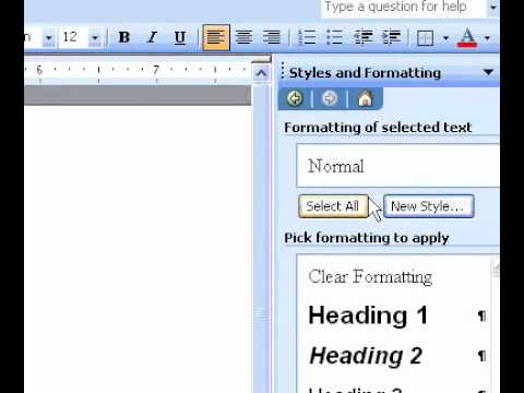 Microsoft Office Word 2003 Display or hide the Styles and Formatting task pane