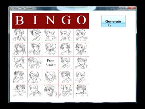 Hetalia Bingo Card Generator