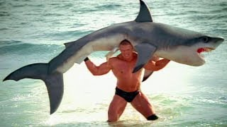 Brock Lesnar F5s a shark: SummerSlam 2003 commercial