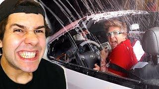 WE DROVE A CONVERTIBLE INTO A CAR WASH!!