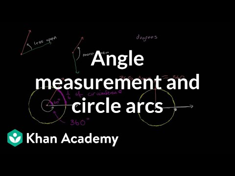 Angle measurement and circle arcs | Angles and intersecting lines | Geometry | Khan Academy