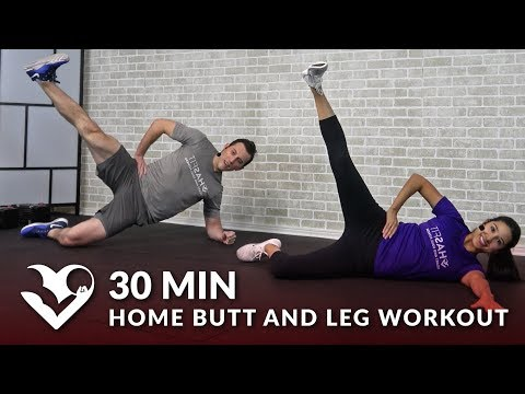 30 Min Home Butt and Leg Workout with Weights for Women & Men - Strength Glutes Legs with Dumbbells