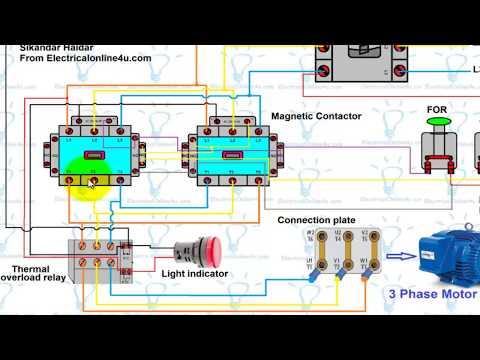 Forward Reverse Motor Control Wiring Diagram For 3 Phase Motor (Urdu/Hindi)