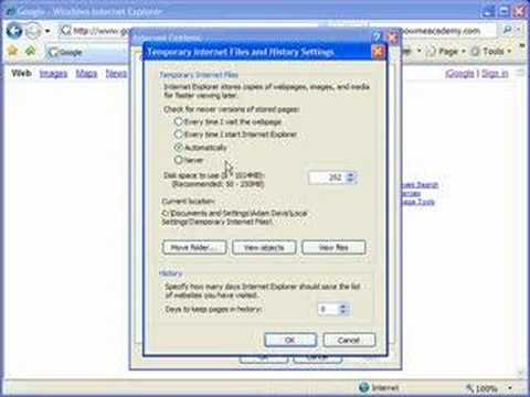 Automatically delete Temporary Internet Files in IE7