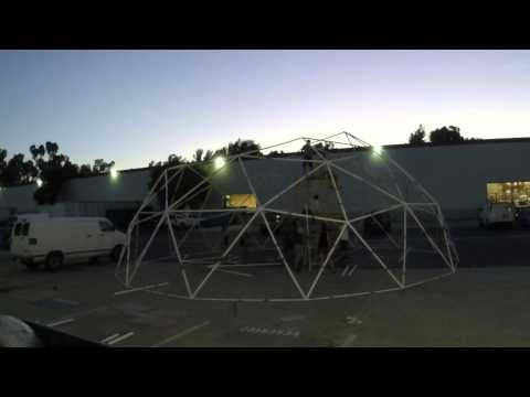 Naked Rainbow - 42' PVC Geodesic Dome Test Build Time Lapse