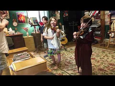 Violin lesson in bat costume
