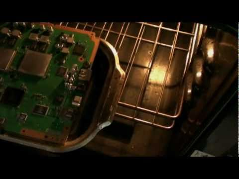 Reflow PS3 Motherboard cooking in oven Playstation 3 YLOD